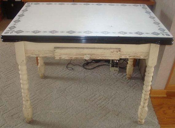 1930 S Vintage Enamel Kitchen Table Kitchen Table Vintage Kitchen Table Top Kitchen Table