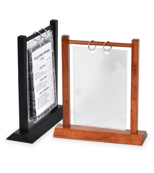 Wooden Double Post Menu Holder to display pictures on table during reception