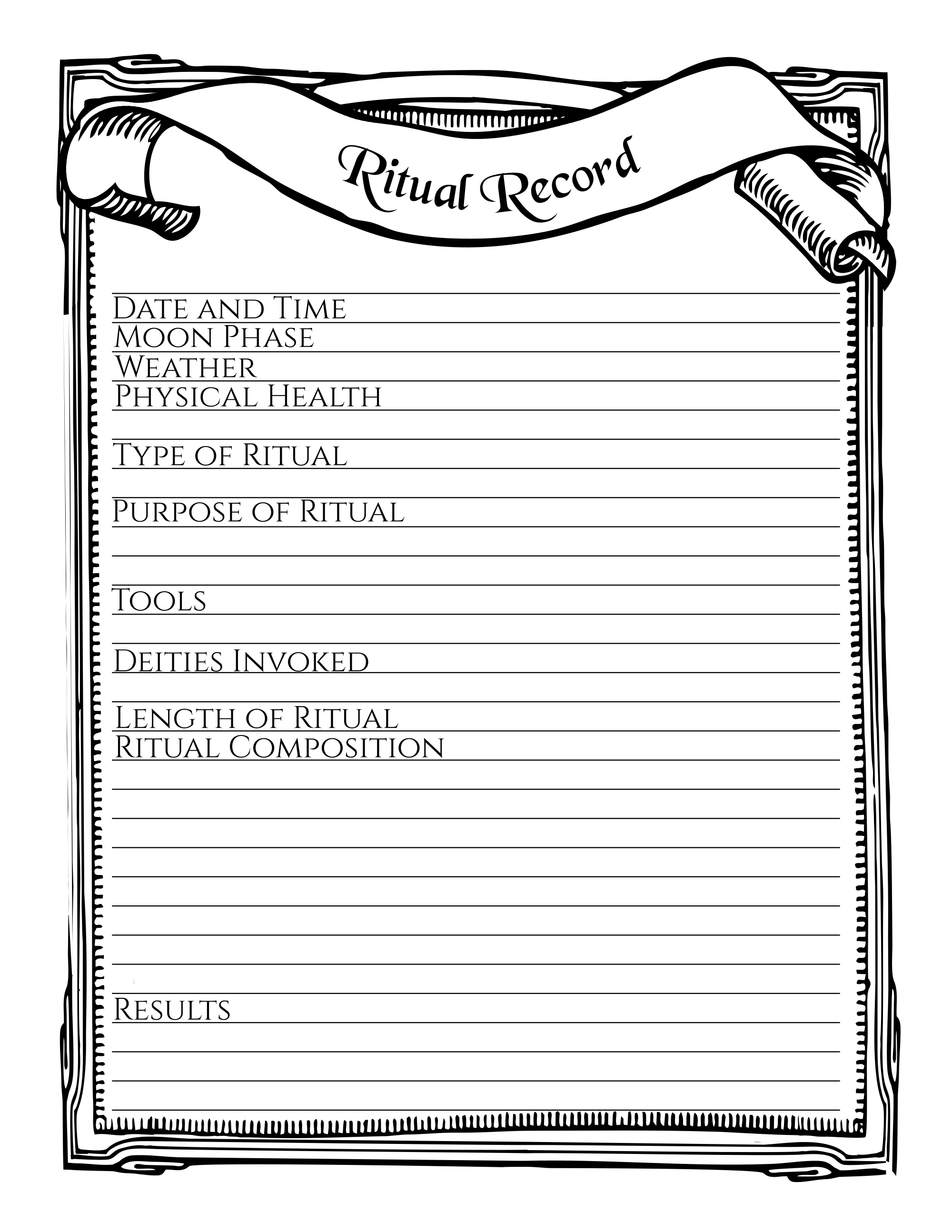 Ritual Record Printable Stationary Page Book of Shadows Free