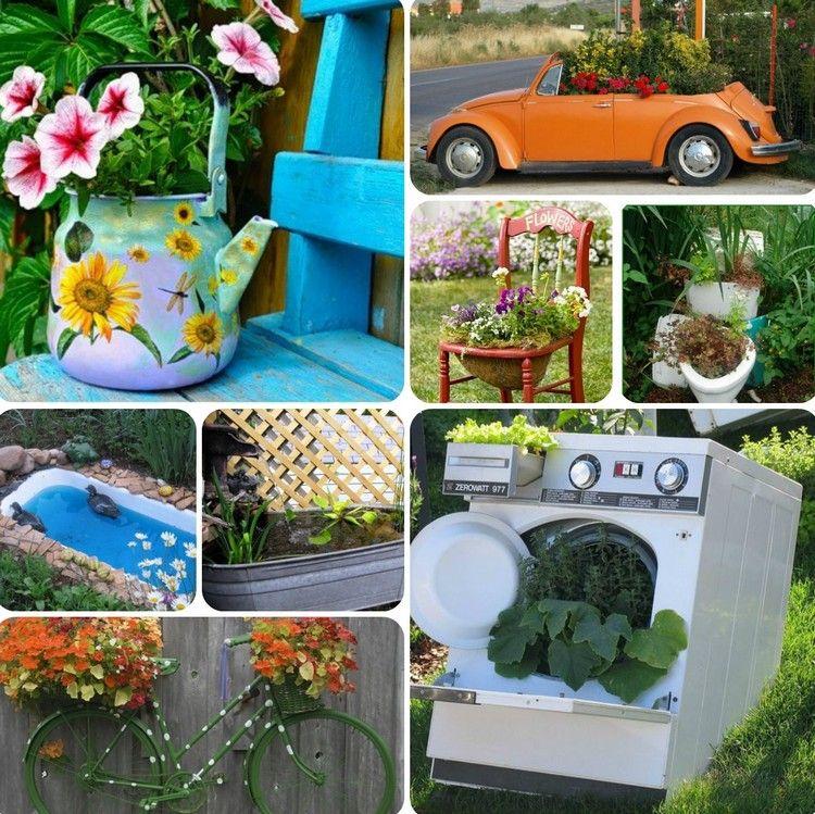 idées pour un jardin gai et déco en objets de récupération - voiture, machine à laver, baignoire, théière et chaise en bois