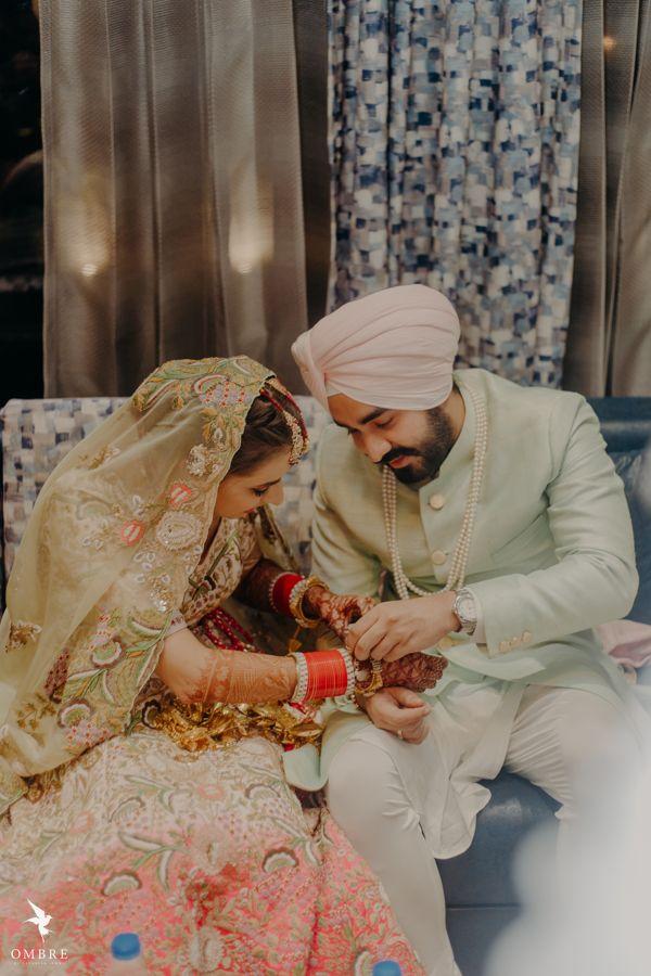 A Gorgeous Sikh Wedding With Bride In Stunning Pista Green Lehenga -   15 wedding Design couple ideas