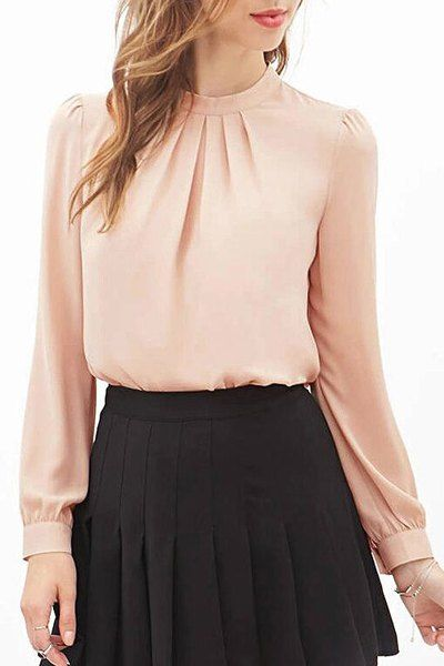 aad1dc901a8d Solid Color Simple Stand Collar Long Sleeve Chiffon Blouse For Women ...