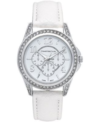 Charter Club Silver Tone Faux Leather Strap Watch 32 Mm Only At Macy S Women S Watches Jewelry Watches M Leather Straps Womens Watches Watches Jewelry
