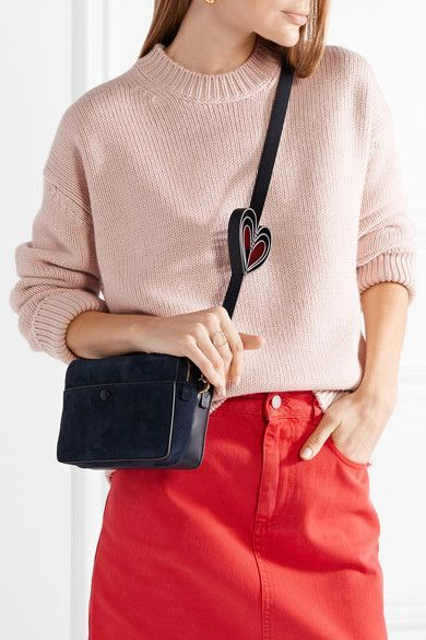 1afba2bfb2 Anya Hindmarch | Double Stack nubuck and leather shoulder bag |  NET-A-PORTER.COM