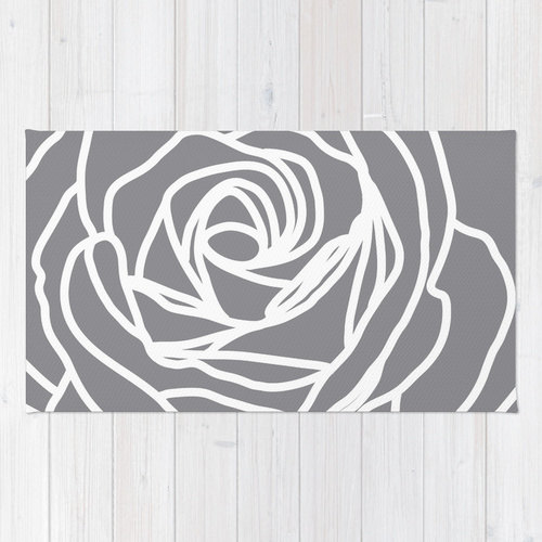 Rose Area Rug Modern Flower Grey Nursery Home Decor