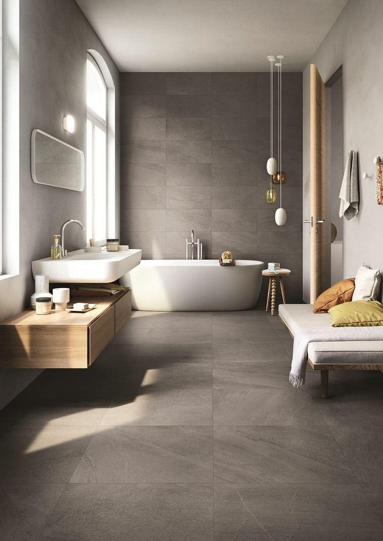 Salle De Bain Gris Plan Travail Bois Luminaire Suspendu Modern Bathroom Design Bathroom Interior Design Bathroom Inspiration