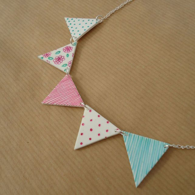 Bunting necklace Handmade british country kitsc... - Folksy