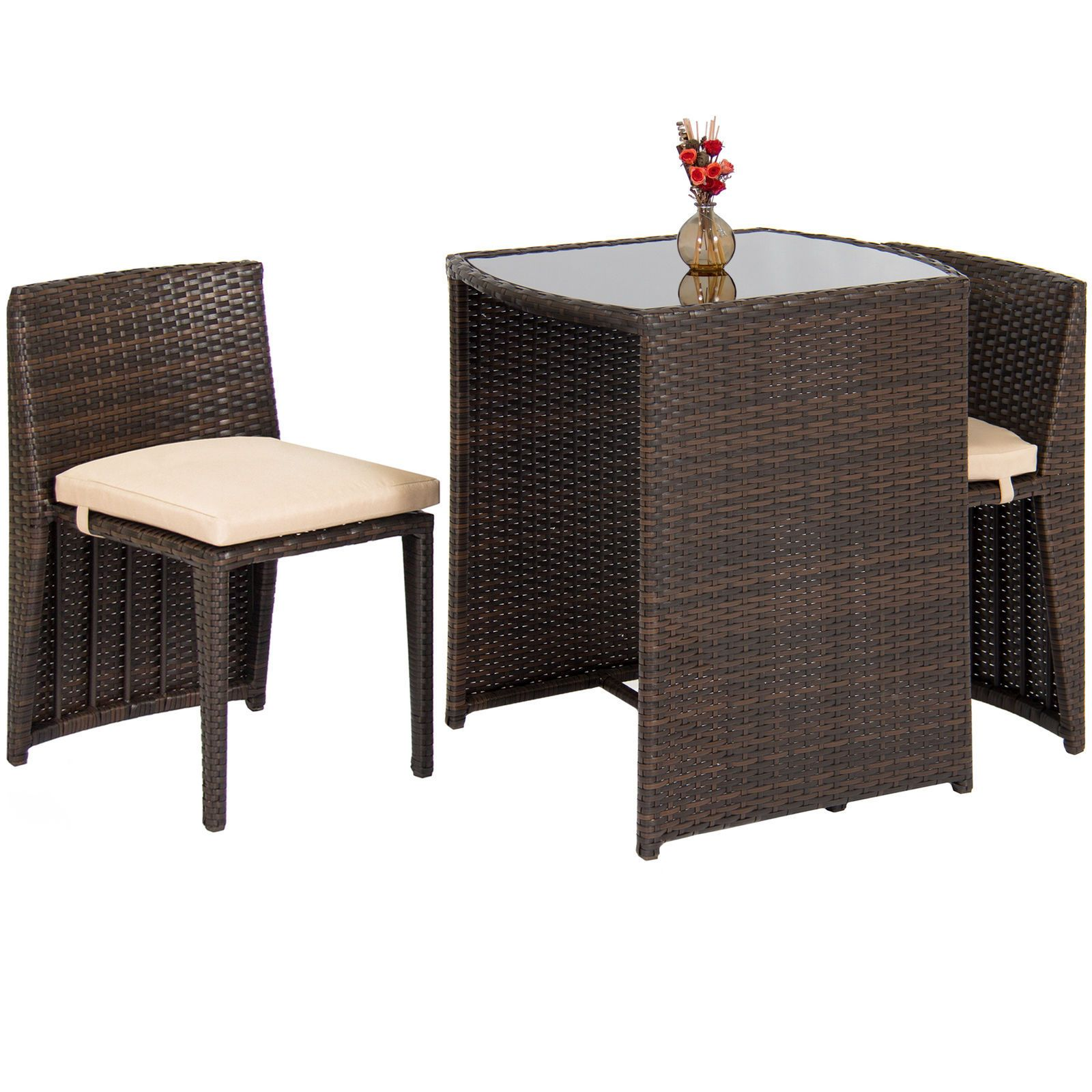 Icymi Smart Wicker 3pc Patio Garden Bistro Set Furniture Table