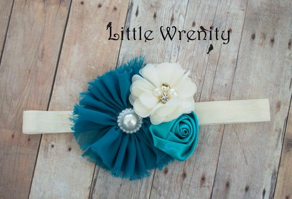Flower Baby Headband Turquoise Baby Headband Teal by LittleWrenity