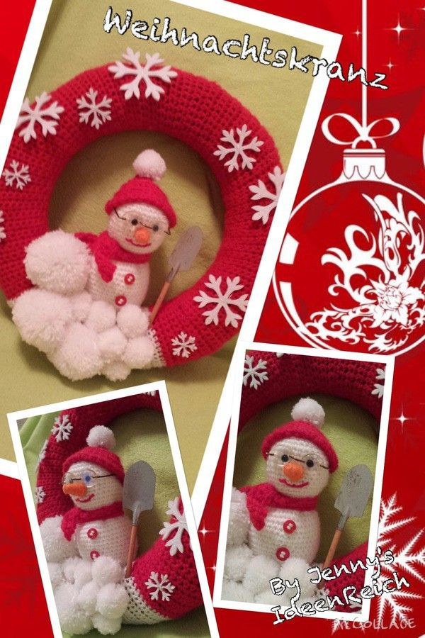 Photo of crochet free wreath X-Mas ++ snowman