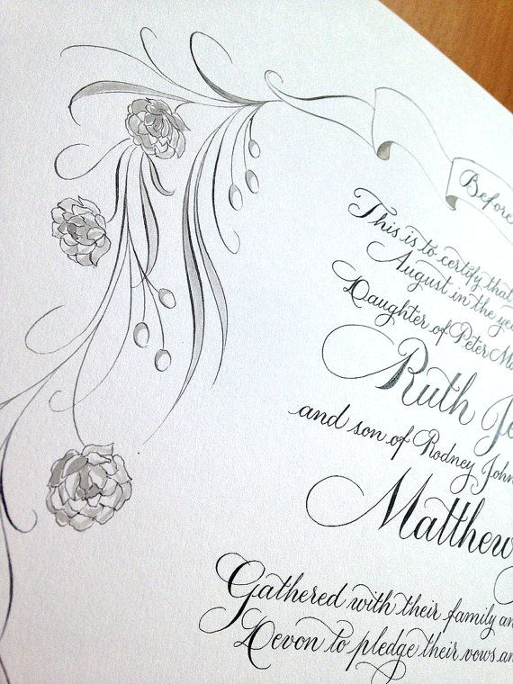 Handwritten Calligraphy For Your Quaker Marriage Certificate  The
