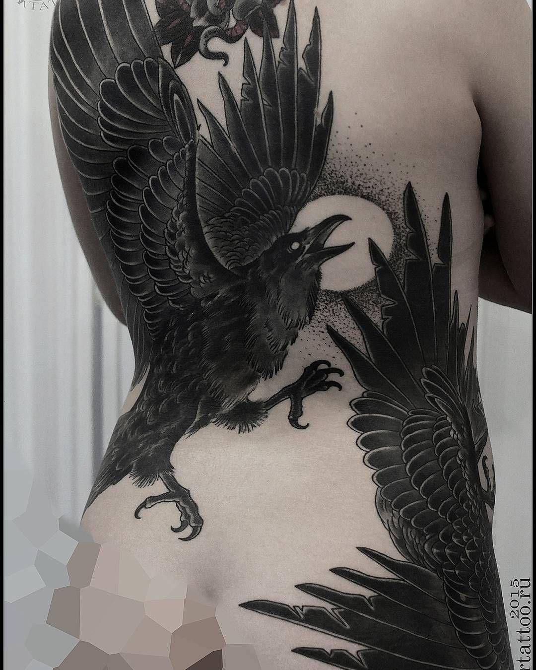 Two ravens tattoo on the back tattoo designs pinterest raven tattoo buycottarizona