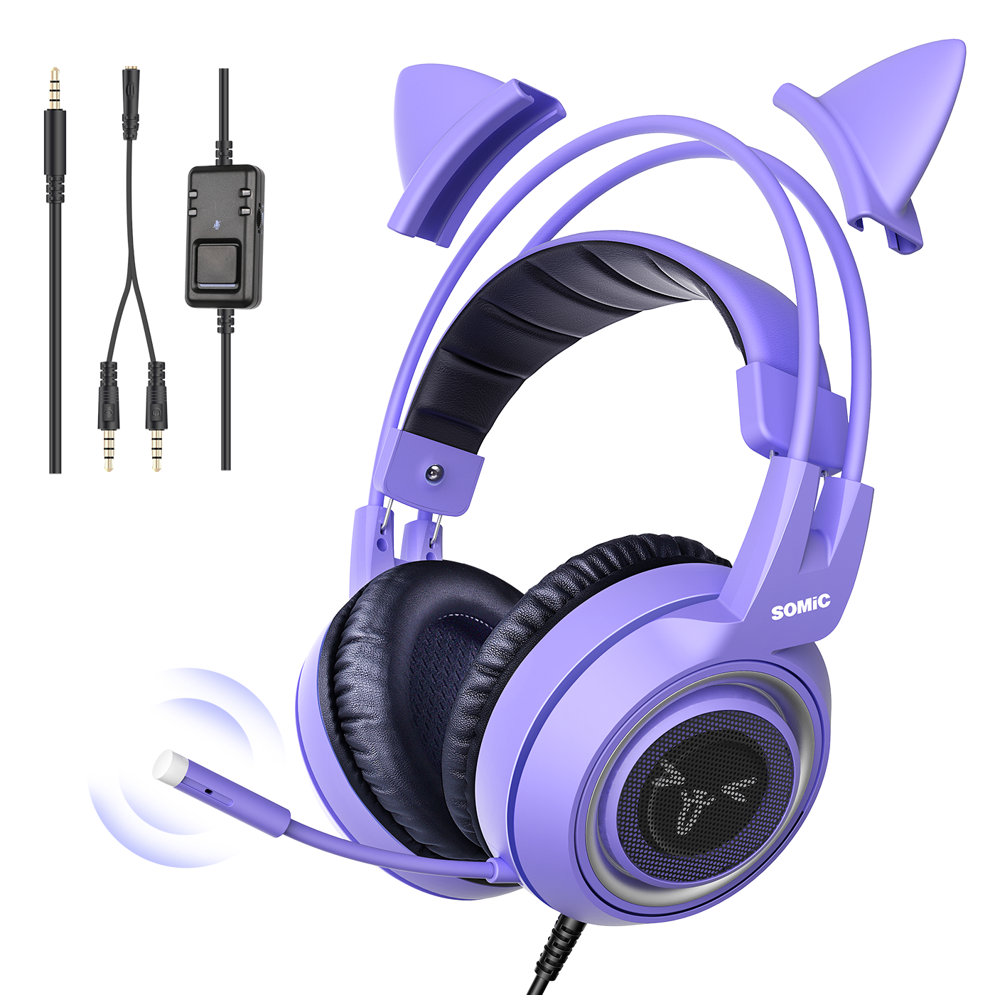 Somic G951s Purple Stereo Gaming Headset With Mic For Ps4 Xbox One Pc Phone Detachable Cat Ear 3 5mm Noise Reduction Headphone Gaming Headphones Headset Noise Reduction Headphones