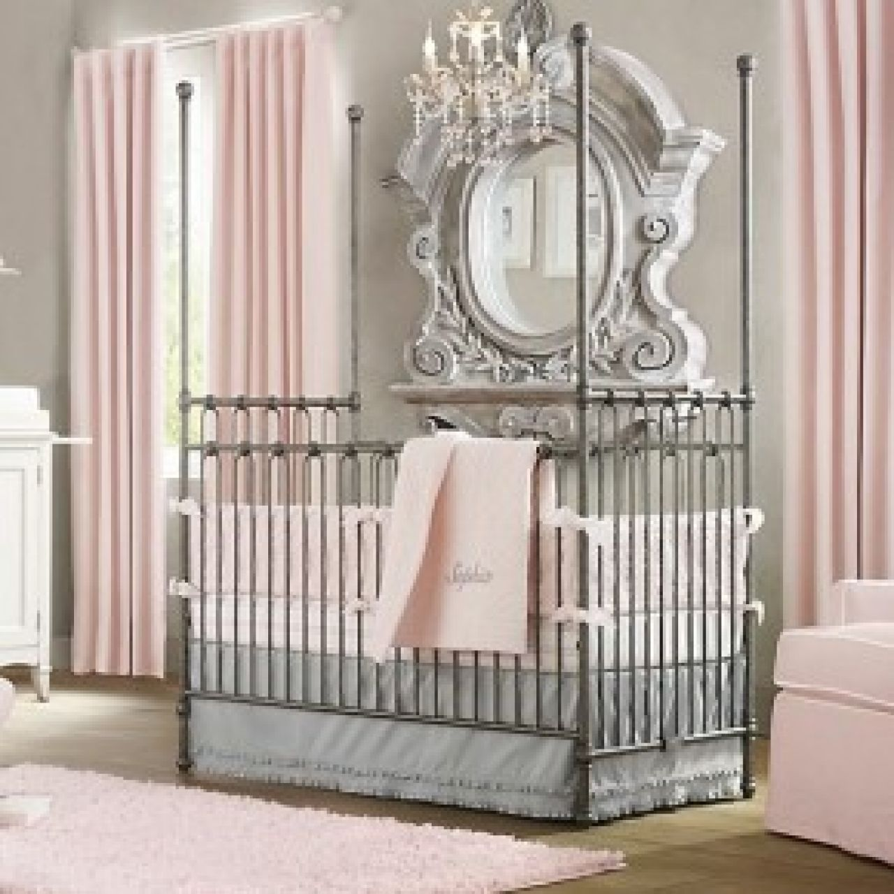 Baby cribs pictures - Bedroom Dazzling Classic Baby Cribs With Wonderful Gypsum Vintage Round Mirror And Awesome Pink Curtain Windows