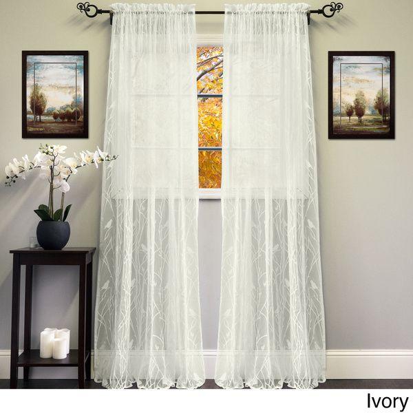 White Ivory 56 Inch X 84 Inch Knit Lace Bird Motif Window