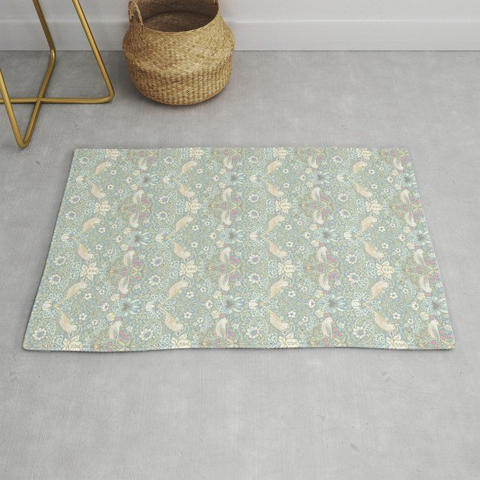 Photo of William Morris Pastel Strawberry Thief Pattern Modern Throw Rug by Paper Words – 2′ x 3′