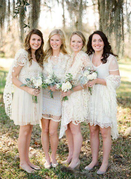 white lace bridesmaid dresses