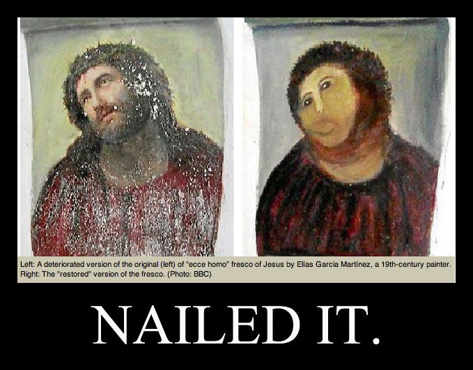 Botched Restoration From Behold The Man To Behold The Monkey Jesus Painting Jesus Funny Painting