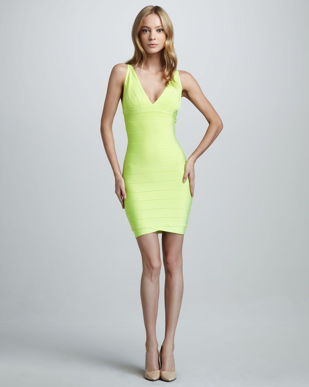 V Neck Yellow Dress