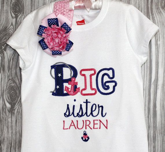 Personalized little girls big sister shirt match to new baby gift personalized little girls big sister shirt match to new baby gift set nautical shirts for children negle Images