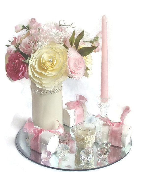 Blush pink and ivory paper peony centerpiece baby shower