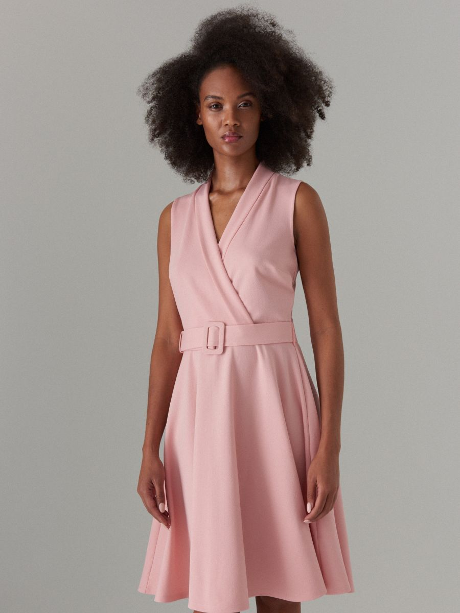 e6a0b13a40 Flared dress with belt - pink - WP069-30X - Mohito - 1