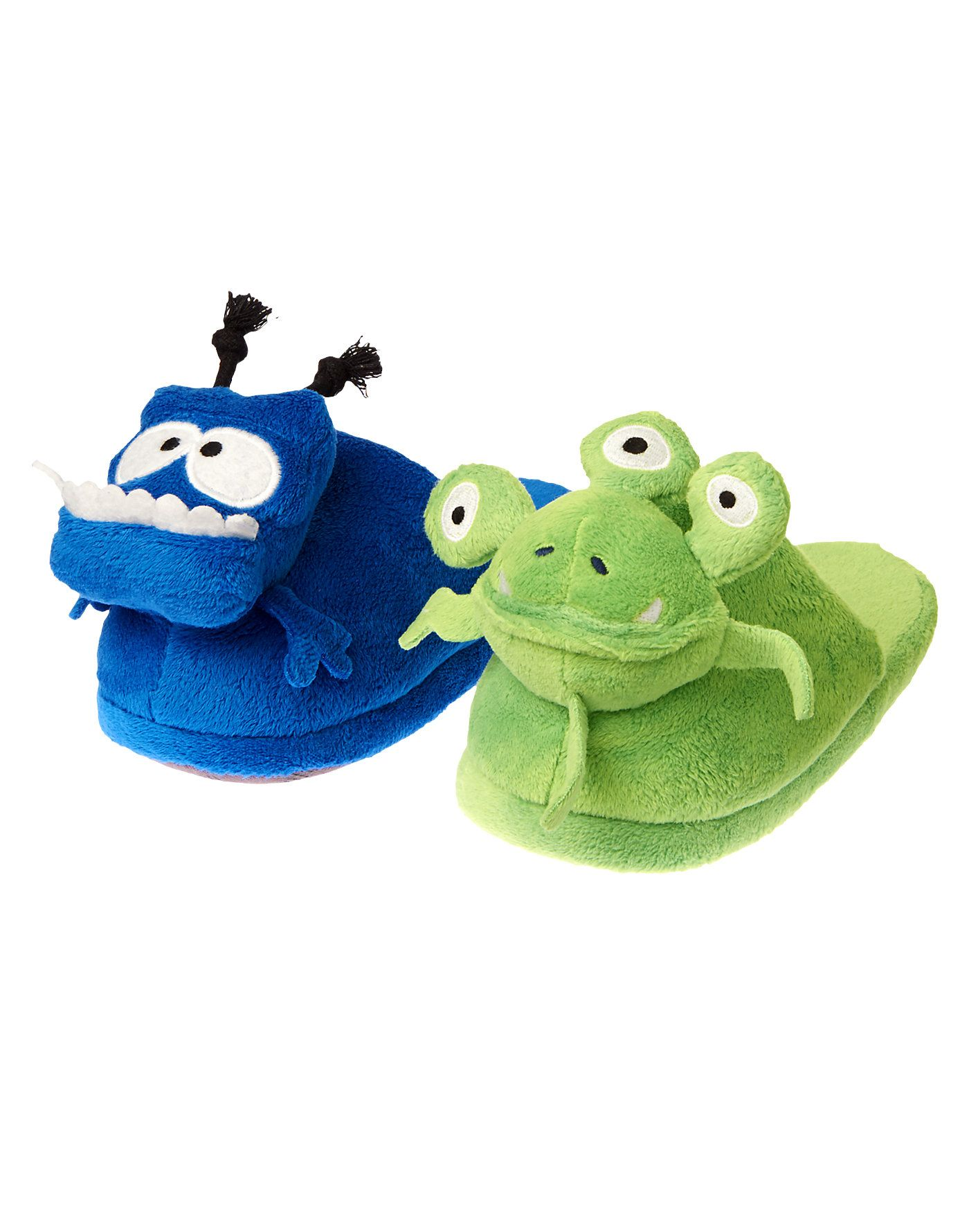 Funny blue and green aliens lead the way in these padded slip-on slippers.