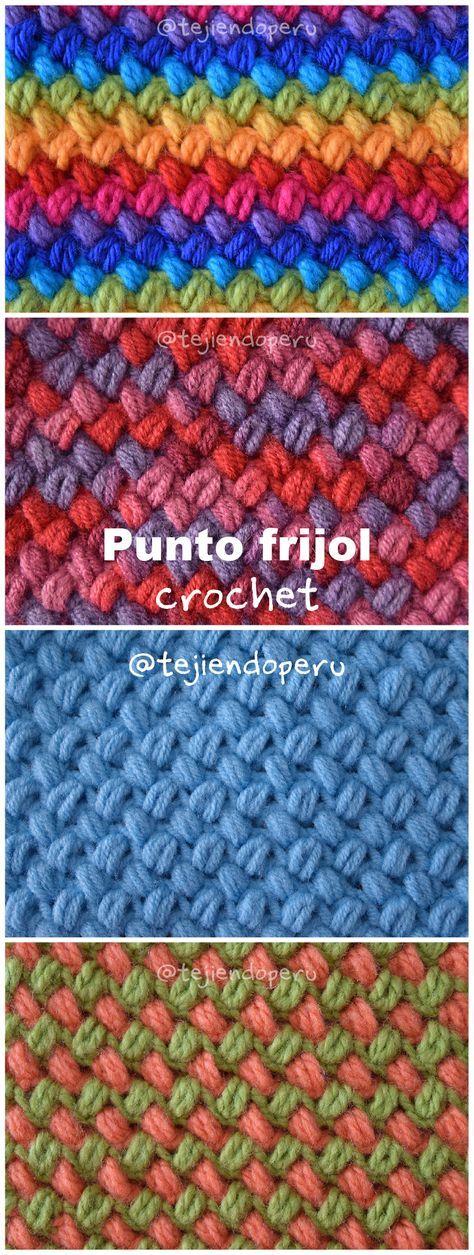 Crochet: punto frijol tejido a crochet paso a paso (video tutorial ...