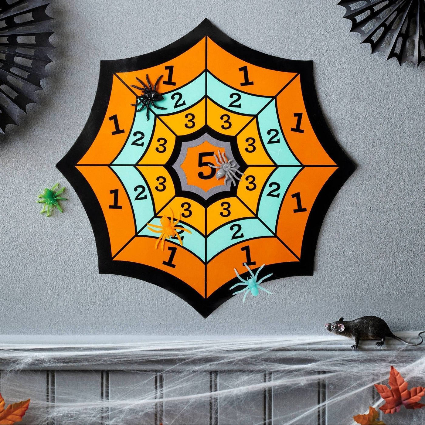 Spider Web Splat Game Halloween Party Kit (with 5 Spiders