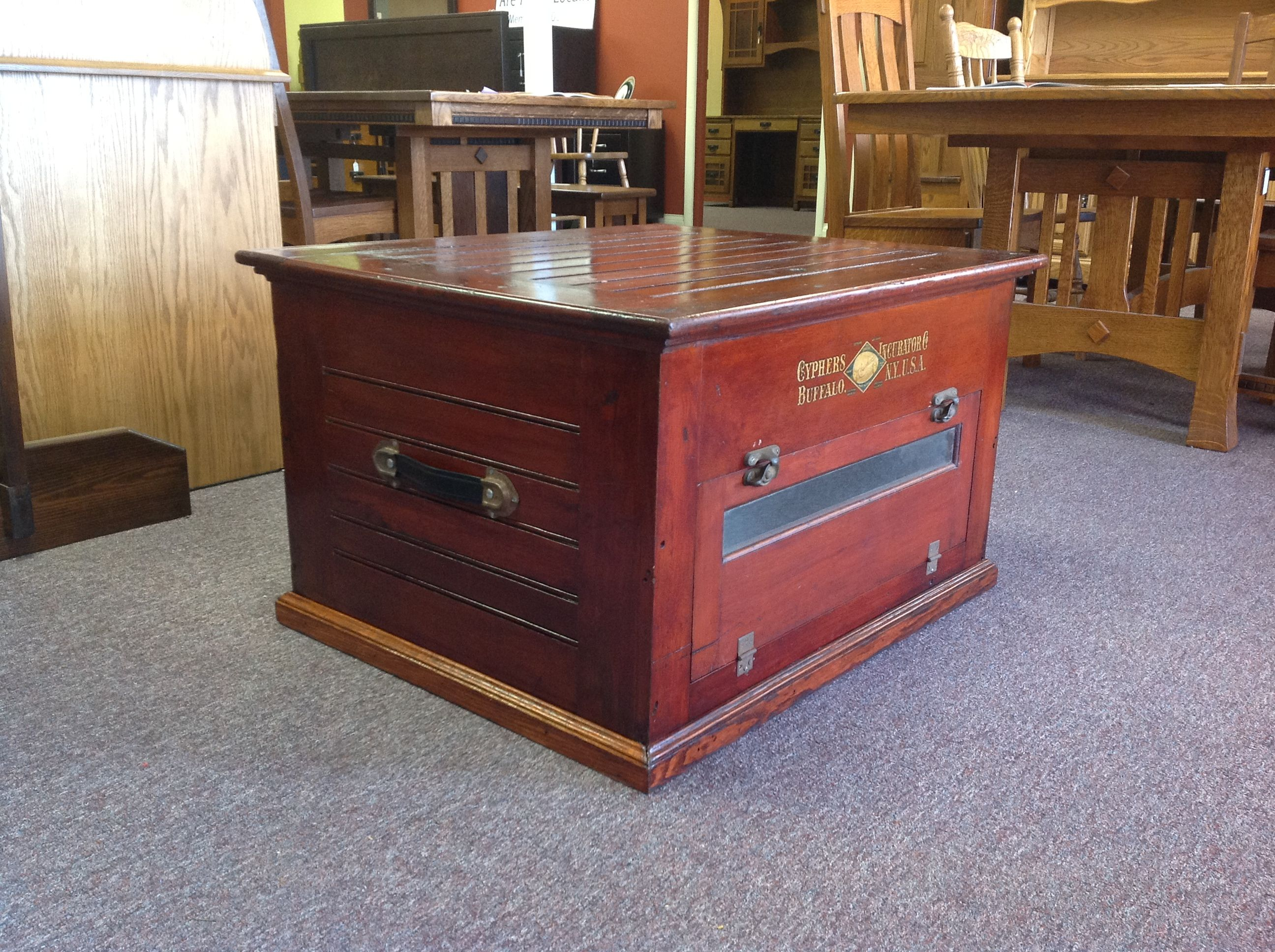 Chicken incubator converted to a coffee table Wisconsin Incubator