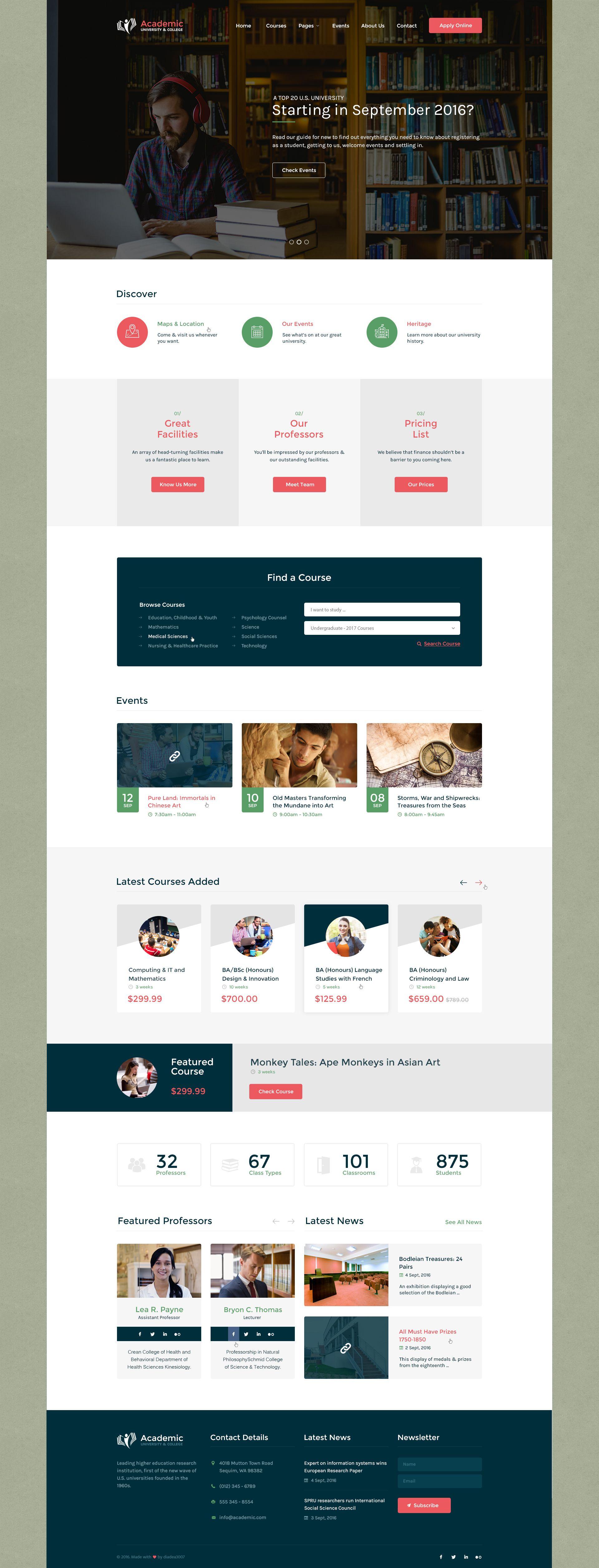 Academic University College Psd Template Web Design Quotes Creative Web Design Page Design