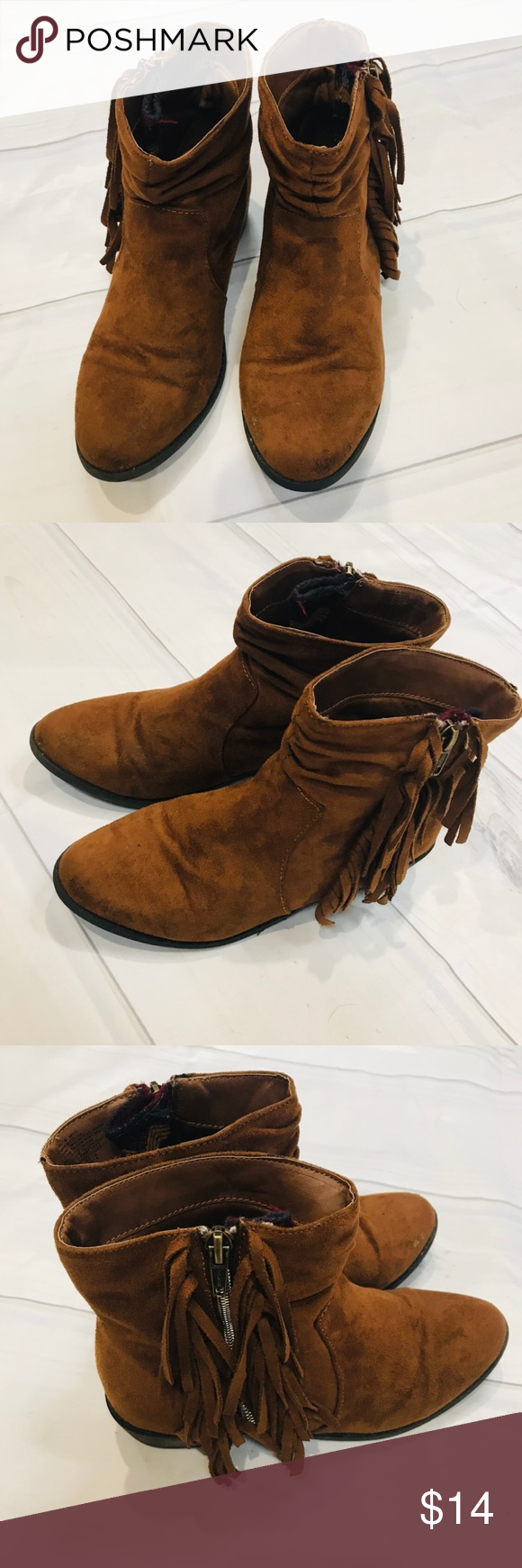 Mudd Girls Brown Ankle Boots Size 4