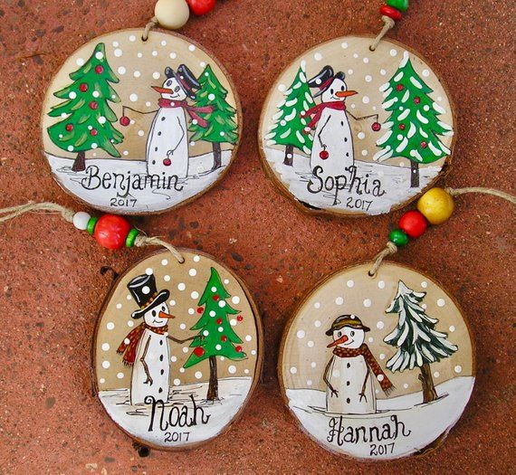 Whimpsical Canadian Snowman Christmas Ornaments Personalized and made to order
