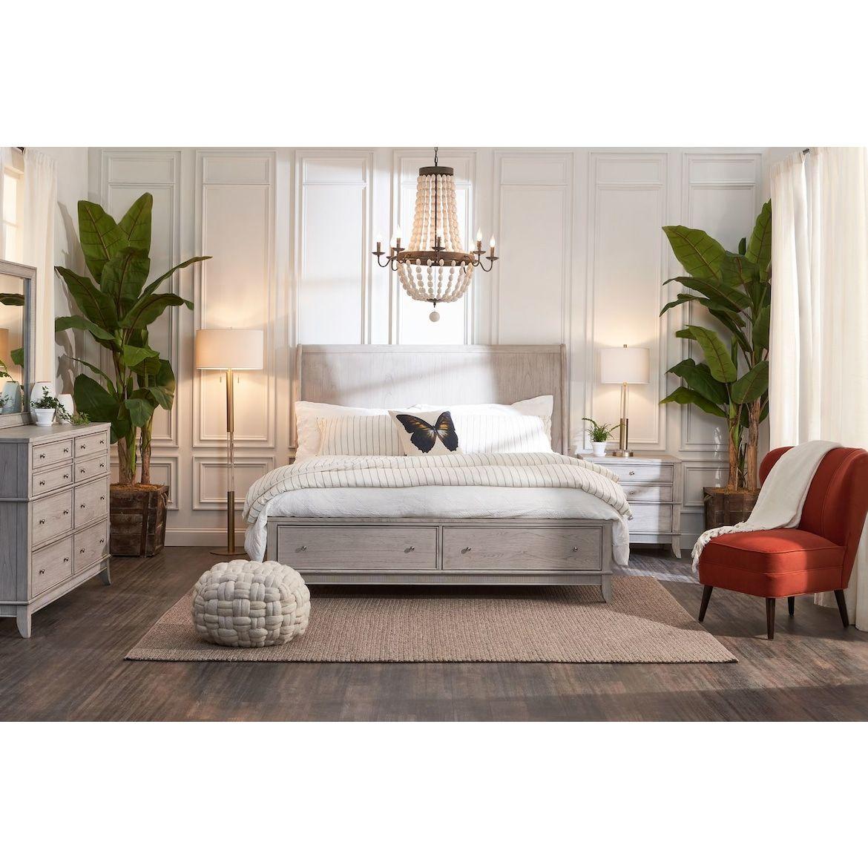 Hazel 6-Piece Bedroom Set With 2-Drawer Nightstand
