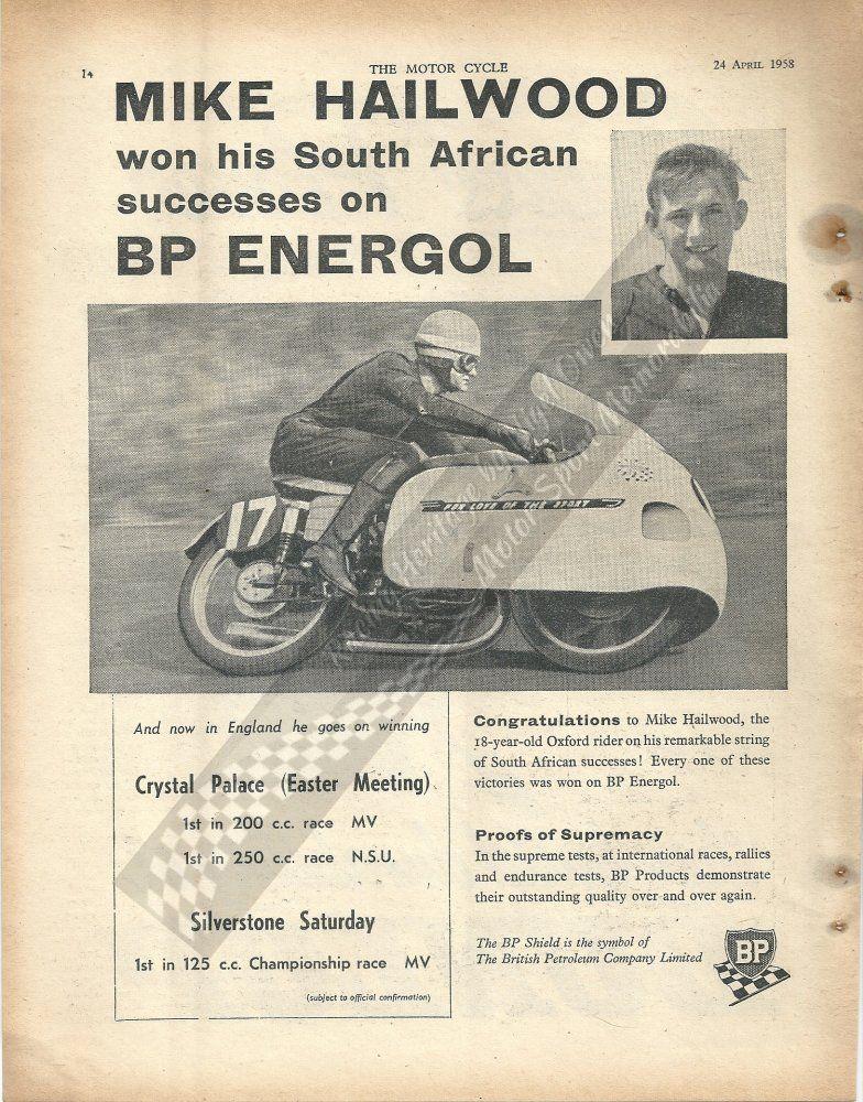 Mike Hailwood advertisment for BP Energol from the Motor