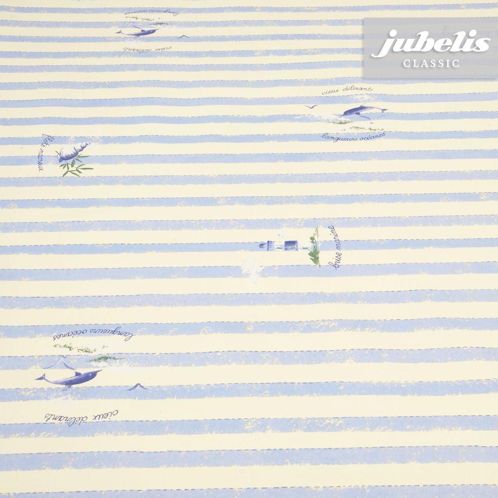 jubelis® Plastiktischdecke mit Vliesbeschichtung Wachstuch Phare Leuchtturm creme hellblau gestreift