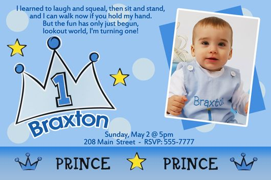 Lil Prince 1st Birthday Invitation Party Sprinkles 1st Birthday Invitation Wording Birthday Invitation Message Boy Birthday Invitations