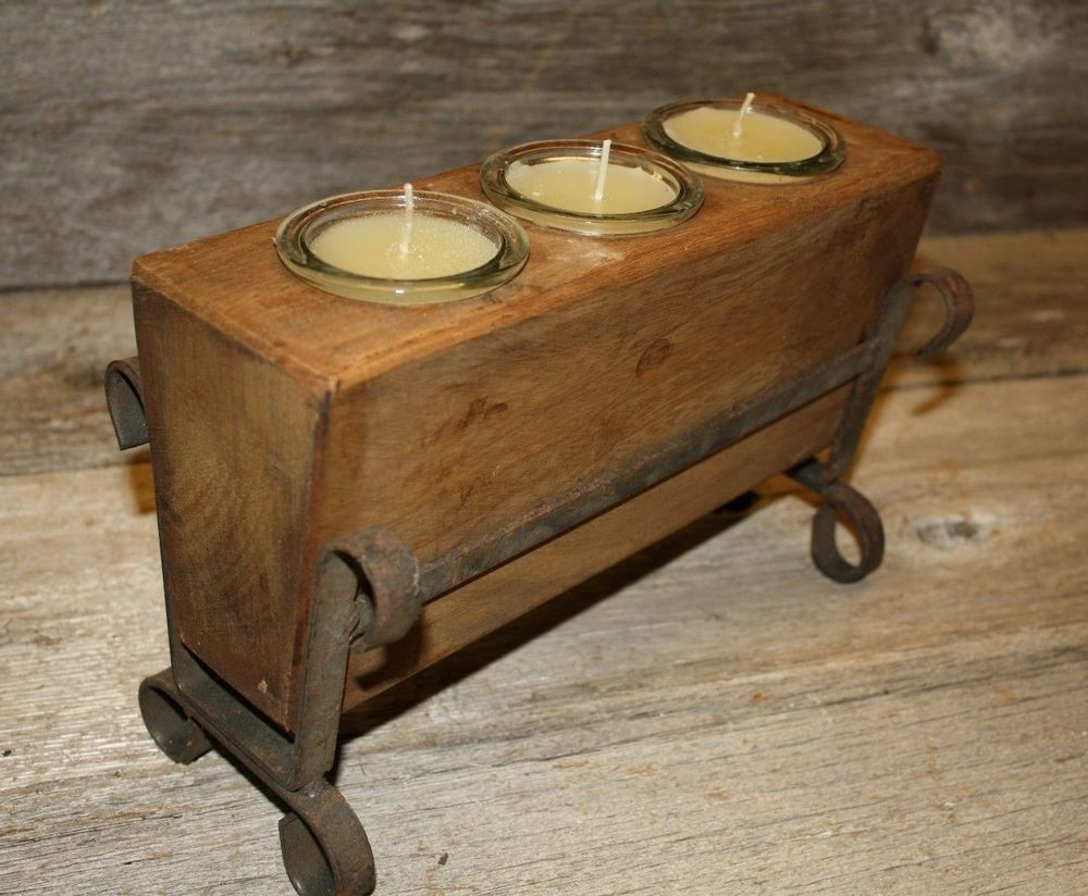 Set of 2 Replacement Sugar Mold Iron Stand Candle Holder Primitive