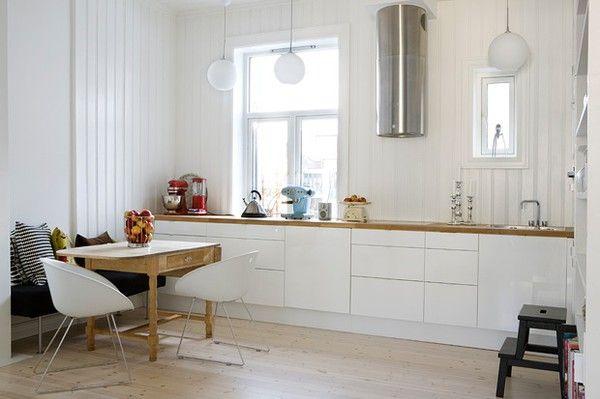 Hvidt kokken ikea med varm tr u00e6bordplade Kokken Pinterest Kokken, Ikea og Tr u00e6