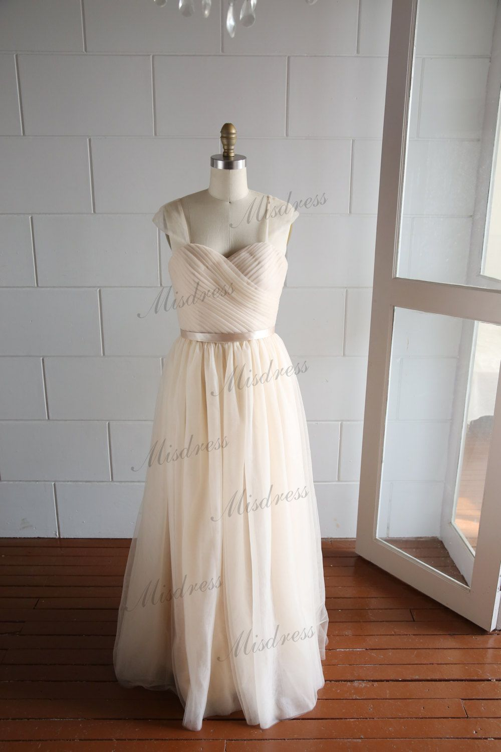 Cap sleeves champagne tulle wedding dresslong by misdress on etsy