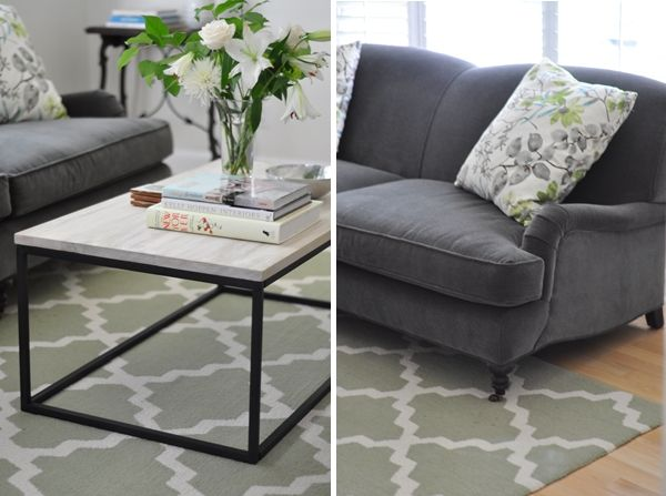 living room grey english roll arm sofa from lee industries box frame coffee table
