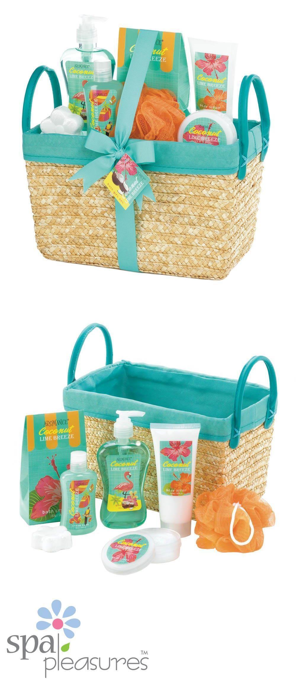 Bath Sets and Kits: Coconut Lime Tropical Spa Bath Gift Basket Set ...