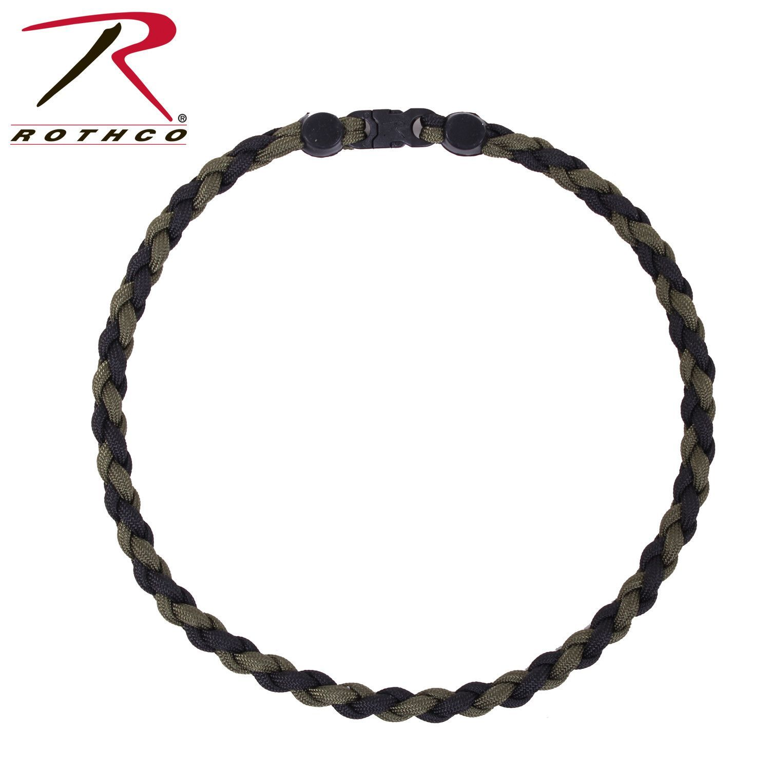 Rothco Paracord Necklace 22 Inch Olive Black
