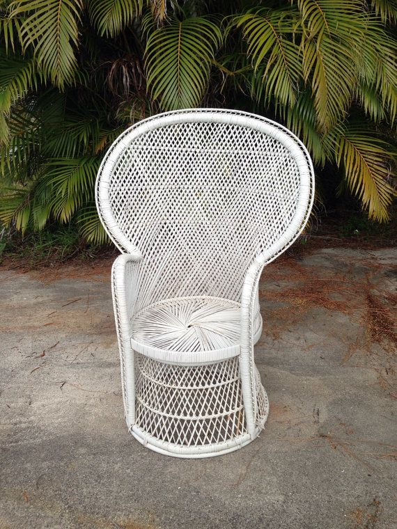 Vintage White Peacock Fan Back Chair Hollywood Regency Bohemian