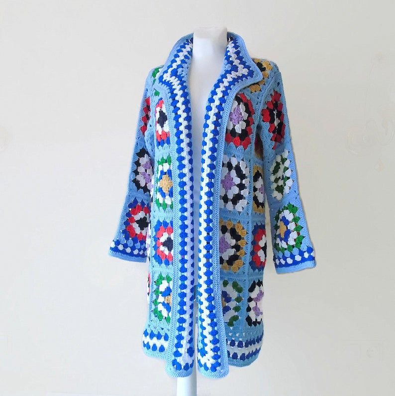 Blue knit coat, Granny square Kimono, Oversize Patchwork sweater, Crochet granny square Afghan coat, loose Cardigan