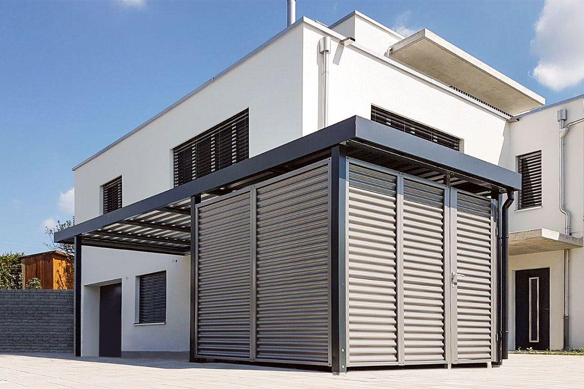 carport mit wandelement stahlwelle carport einhausungen eingangs berdachung m lltonnenbox. Black Bedroom Furniture Sets. Home Design Ideas