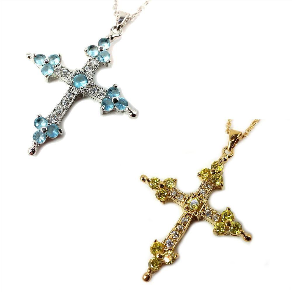 Details about cross pendant necklace cubic zirconia crucifix blue