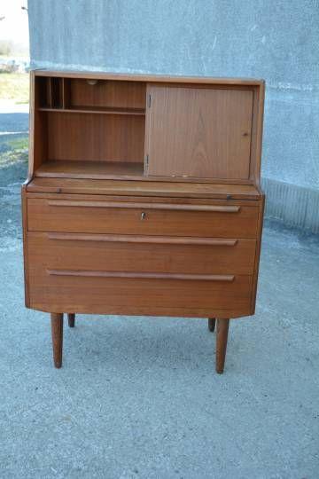 coiffeuse secrtaire scandinave vintage meuble danois des annes 60 un manque sur le placage - Meuble Danois