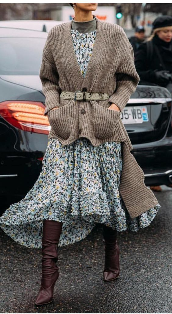 Fashion Tips Modest How to wear your dresses for fall/winter? Layering! floral midi dress layered with a turtleneck and cardigan sweater, pointed toe slouchy boots