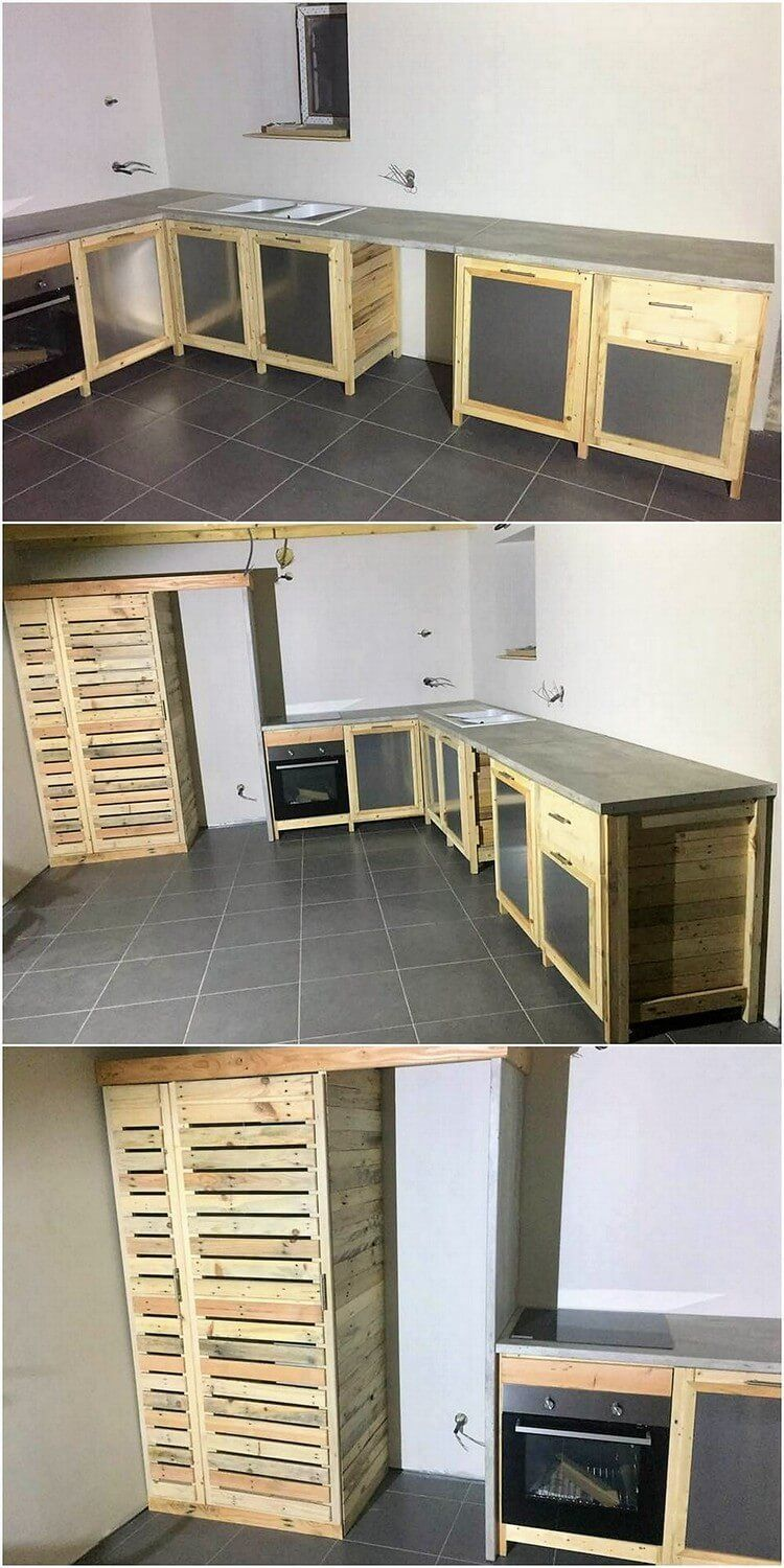 Kitchen Cabinet Framing Design From Wood Pallet Is Somehow Coming Out To Be One Of The Favorabl Diy Wood Pallet Projects Wood Pallets Pallet Projects Furniture